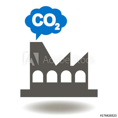 Factory cloud co icon. Factories clipart carbon emission
