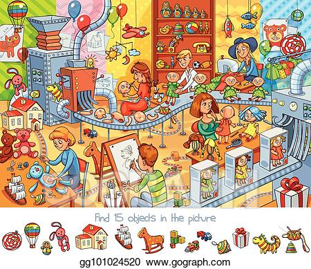Vector factory find objects. Factories clipart cartoon toy