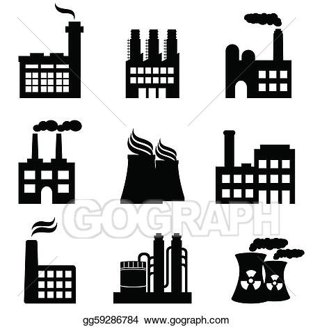 Vector illustration industrial buildings. Factories clipart chemical factory