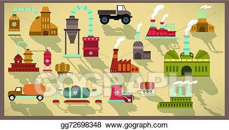 Vector icons retro colors. Factory clipart colorful