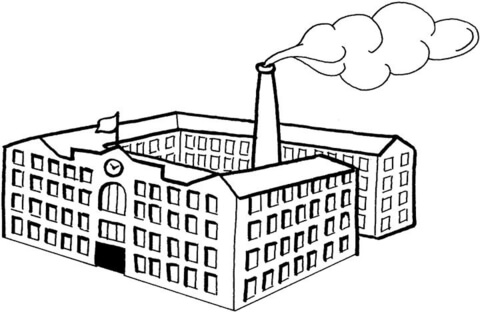 Factories clipart coloring page. Big factory free printable