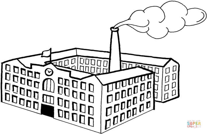 Big factory free printable. Factories clipart coloring page