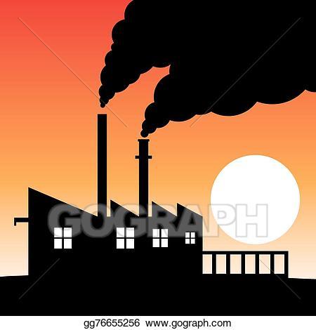 Factories clipart environmental pollution. Vector art factory silhouette