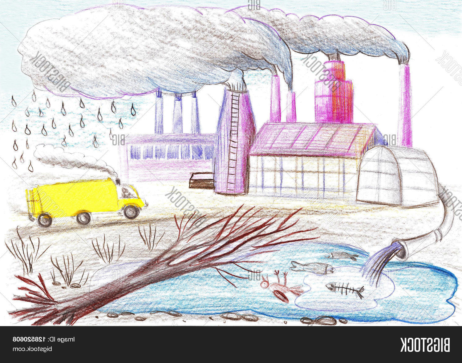 Factory drawing at getdrawings. Factories clipart environmental pollution
