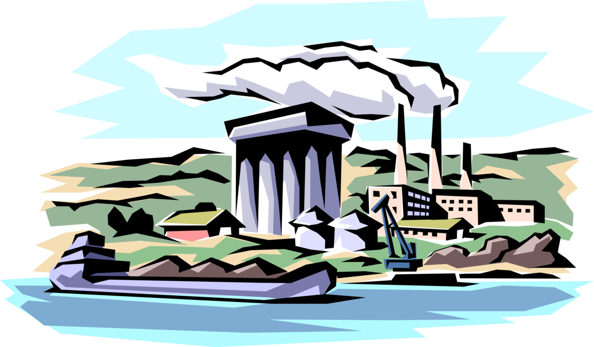 Factory clipart polluted. Smokestack pollution vector image