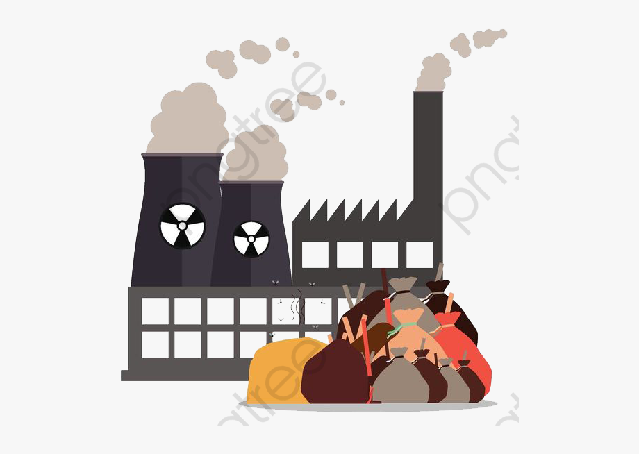 Pollution from a garbage. Factories clipart factory waste