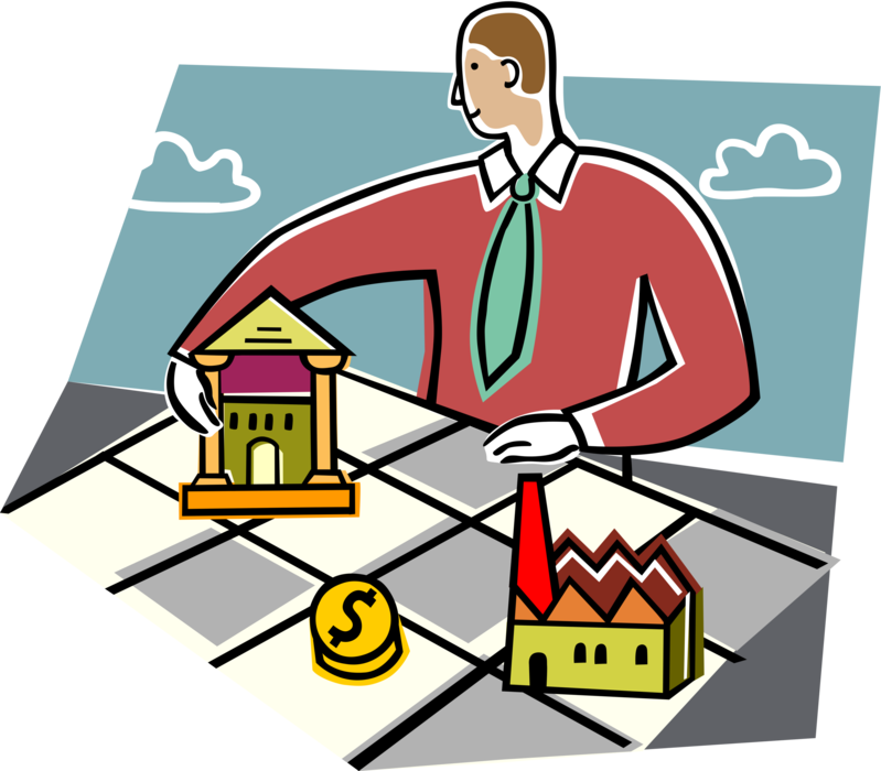 Bank loan for factory. Factories clipart illustration