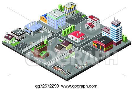 Vector art area concept. Factories clipart industrial estate