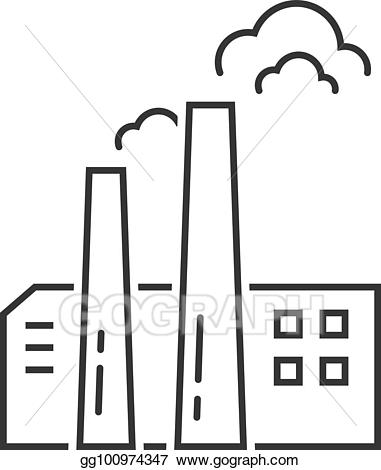 Factory clipart simple. Eps vector black thin