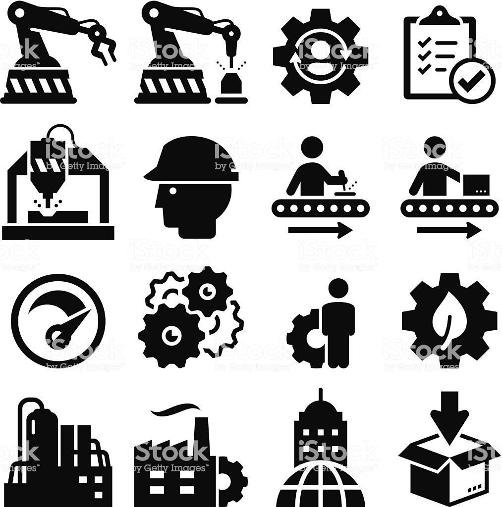 Factories clipart manufacturing unit. Plant and factory icons
