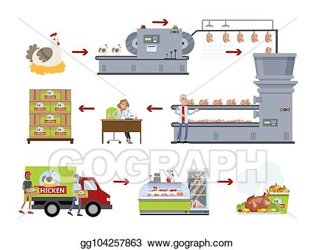 Eps illustration chicken set. Factory clipart meat factory