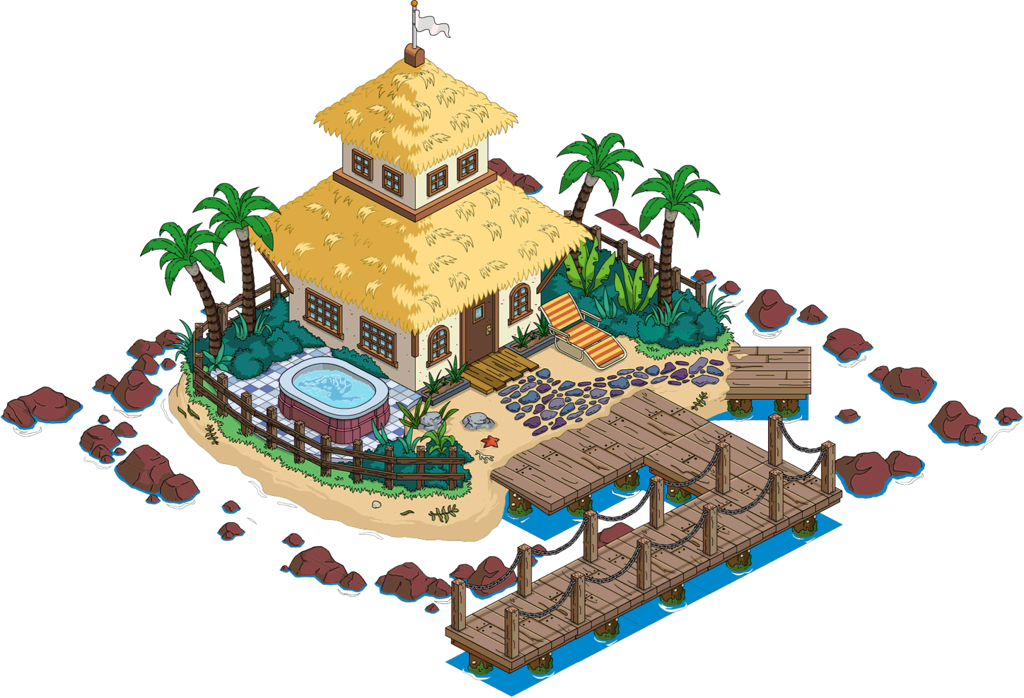 Private island the simpsons. Factory clipart military building