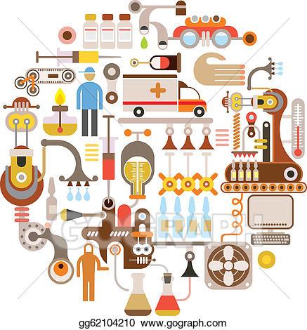 Vector pharmaceutical factory illustration. Factories clipart pharma