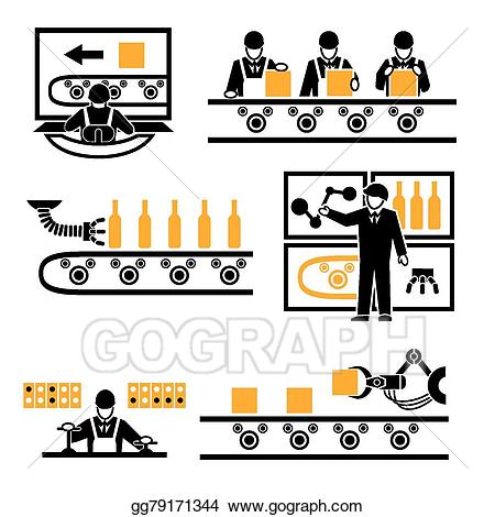 Vector art process icons. Factory clipart factory production