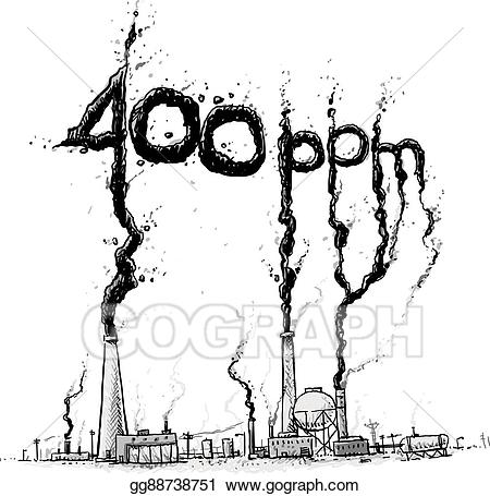 Factory clipart smoke belching. Vector atmospheric carbon level