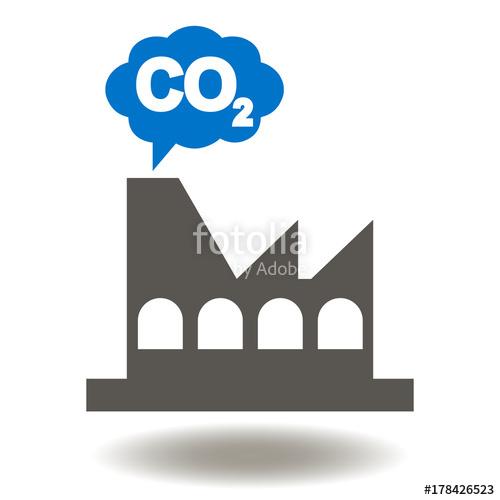 Cloud co icon vector. Factory clipart carbon emission