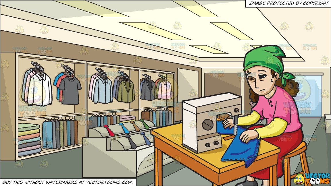 Factory clipart clothes factory. A female worker sewing