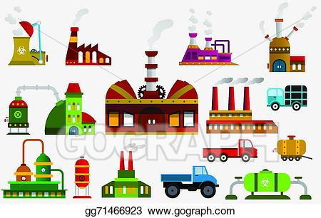 Factory clipart colorful. Vector icons illustration