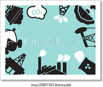 Industrial plant or ecology. Factory clipart contamination