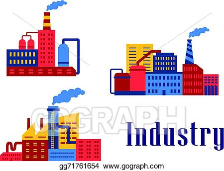 Factory clipart different industry. Clip art vector flat