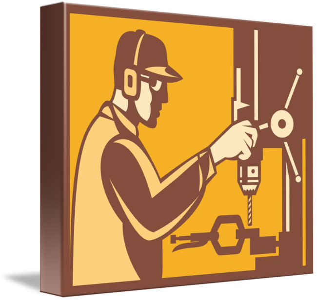 Worker with drill press. Factory clipart factory operator