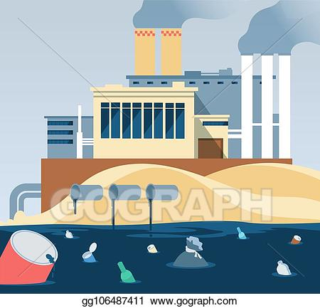 Factory clipart factory waste. Eps vector industrial polluted