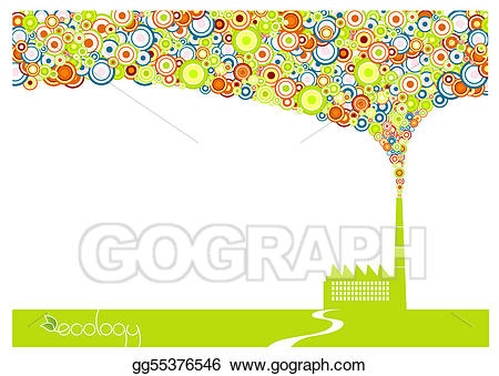 Vector art with smoke. Factory clipart green factory