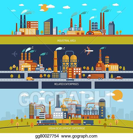 Factory clipart industrial area. Eps vector banner set