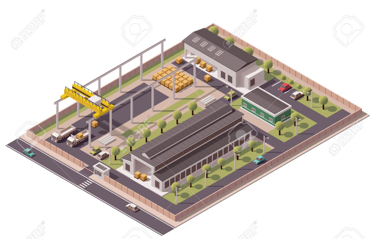 Factory clipart industrial estate. Stock vector architecture machines