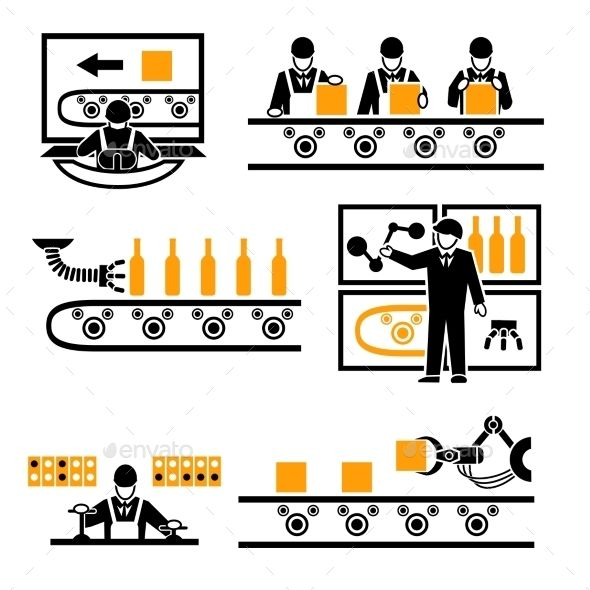 Production process icons machine. Factory clipart industrial maintenance