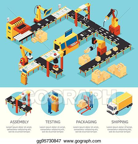 Factory clipart industrial product. Vector art isometric composition