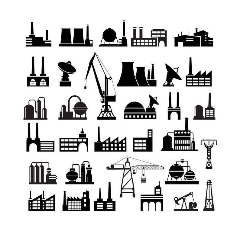 Industrial silhouettes infographic clip. Factory clipart industry