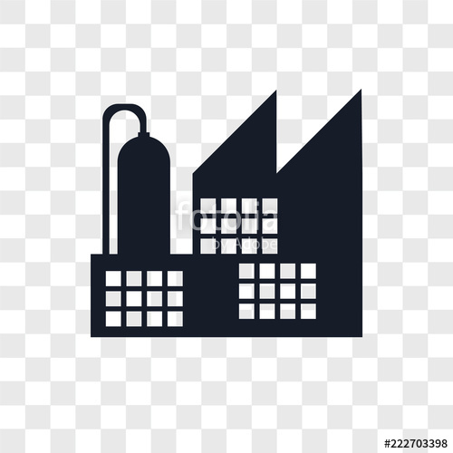 Icons isolated on transparent. Factory clipart modern factory