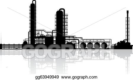 Factory clipart oil refinery. Vector art plant silhouette