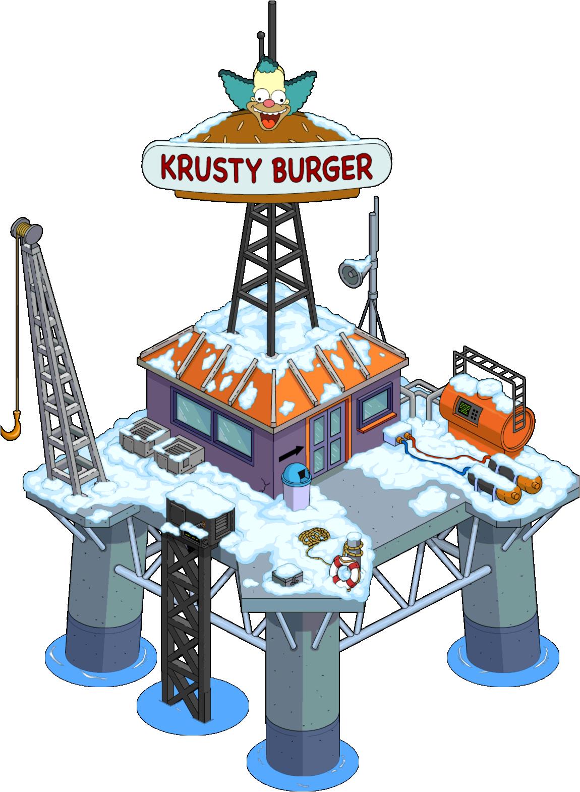 Krusty burger oil rig. Mall clipart escalator