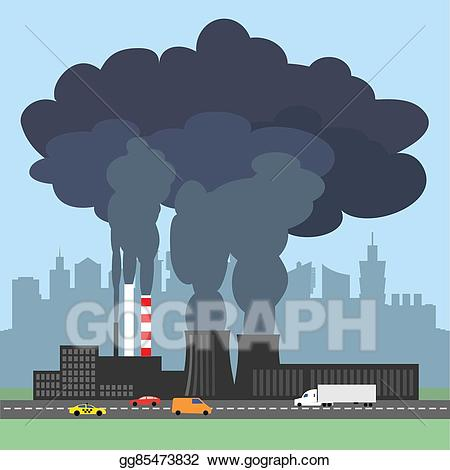 Factory clipart polluted. Stock illustration conceptual showing