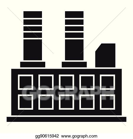Vector illustration building icon. Factory clipart simple