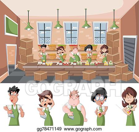 Vector art warehouse with. Factory clipart wood factory
