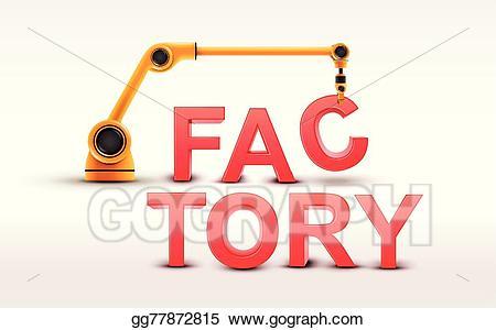 Vector art industrial robotic. Factory clipart word