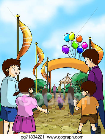 Fair clipart. Stock illustration kids and