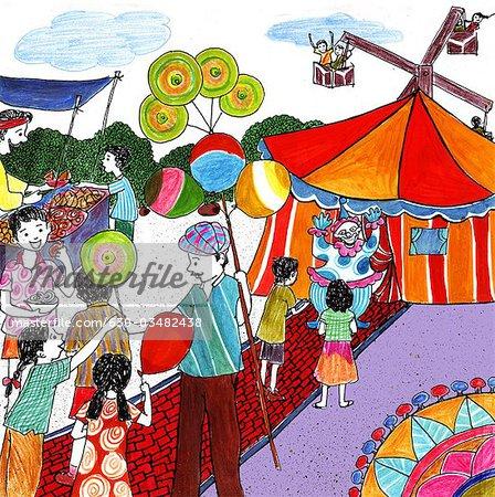 Kids enjoying in a. Fair clipart fair indian
