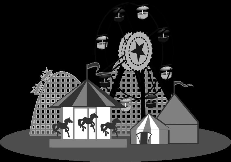 Game clipart carnival. B w medium image