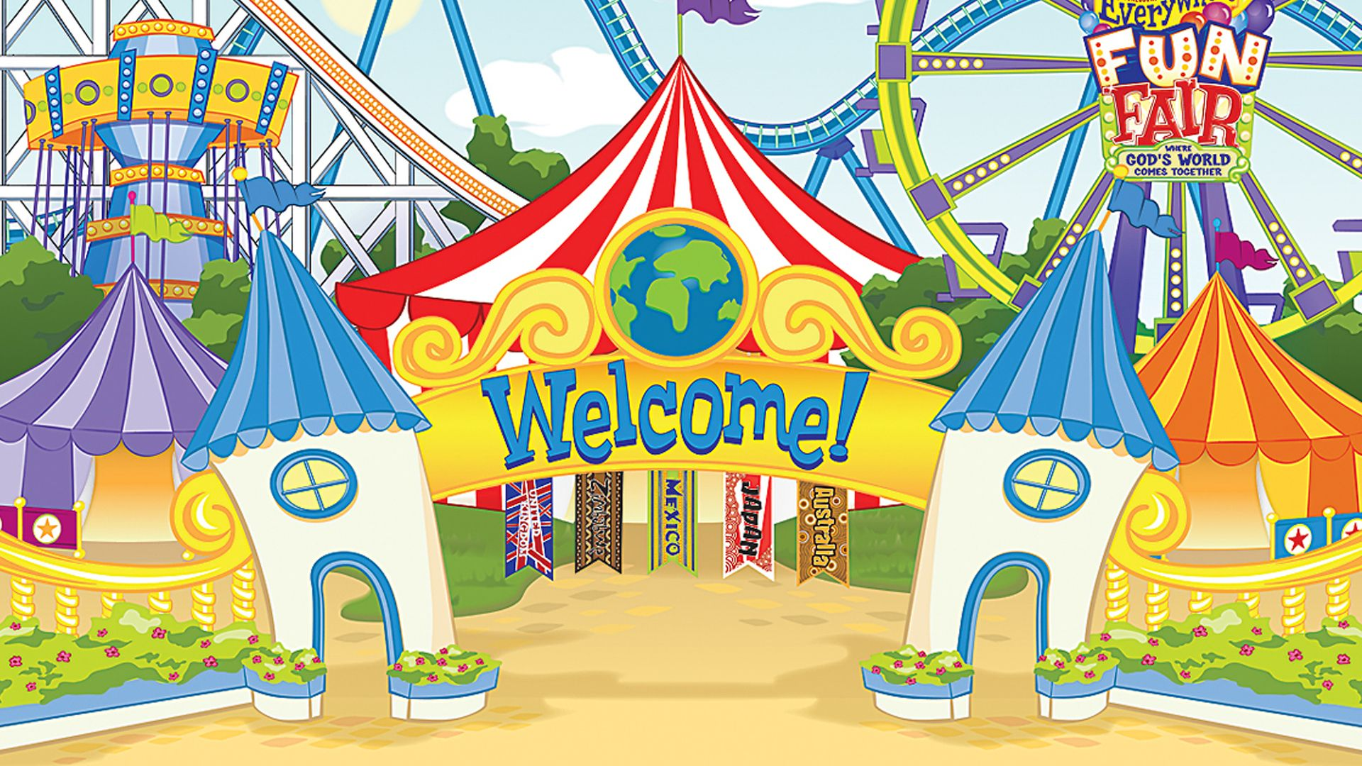Fair clipart fairground. Welcome vacation bible school