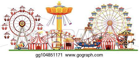 Eps vector a panorama. Fair clipart fairground