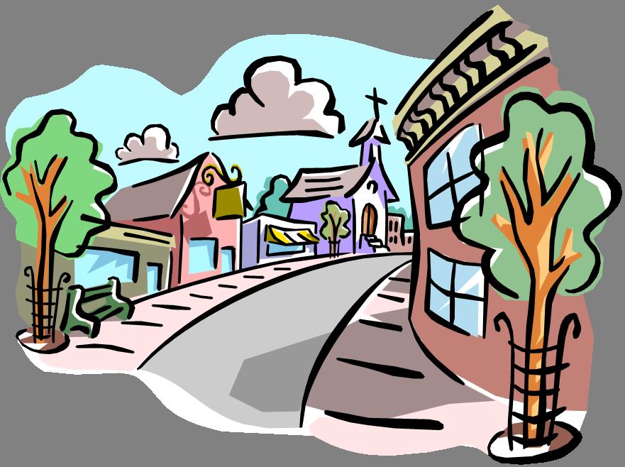 Setting school frames illustrations. Neighbors clipart town center