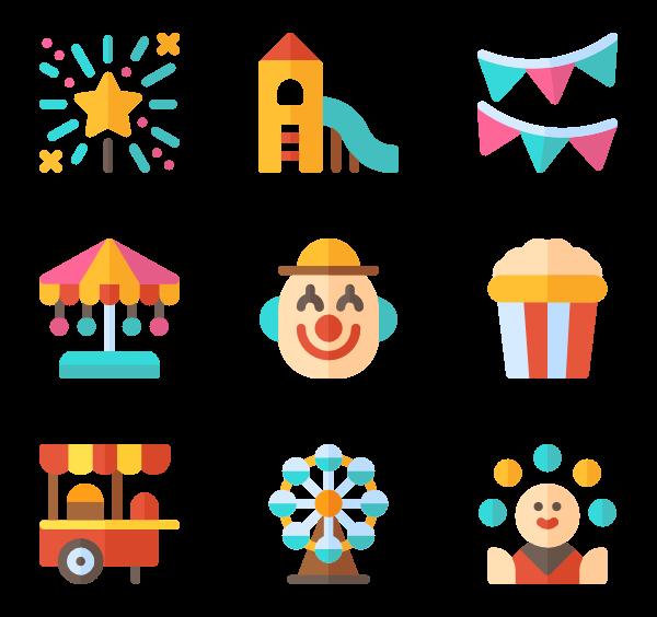 Fair clipart theme park. Funfair icons free vector