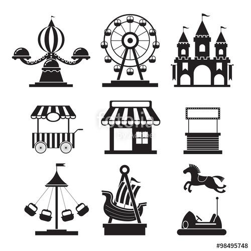 Fair clipart theme park. Amusement objects icons mono