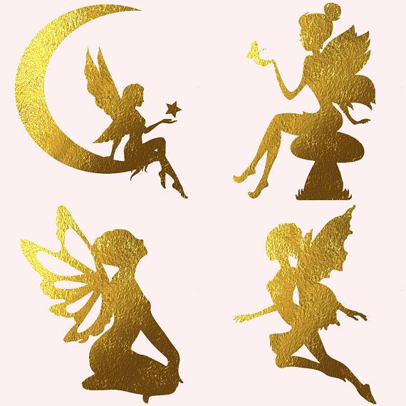 Fairies clipart. Gold foil by fantasy