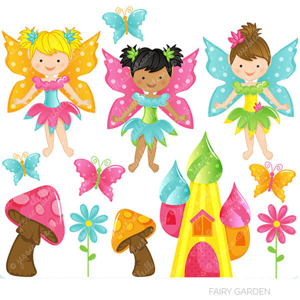Fairy garden cute digital. Fairies clipart