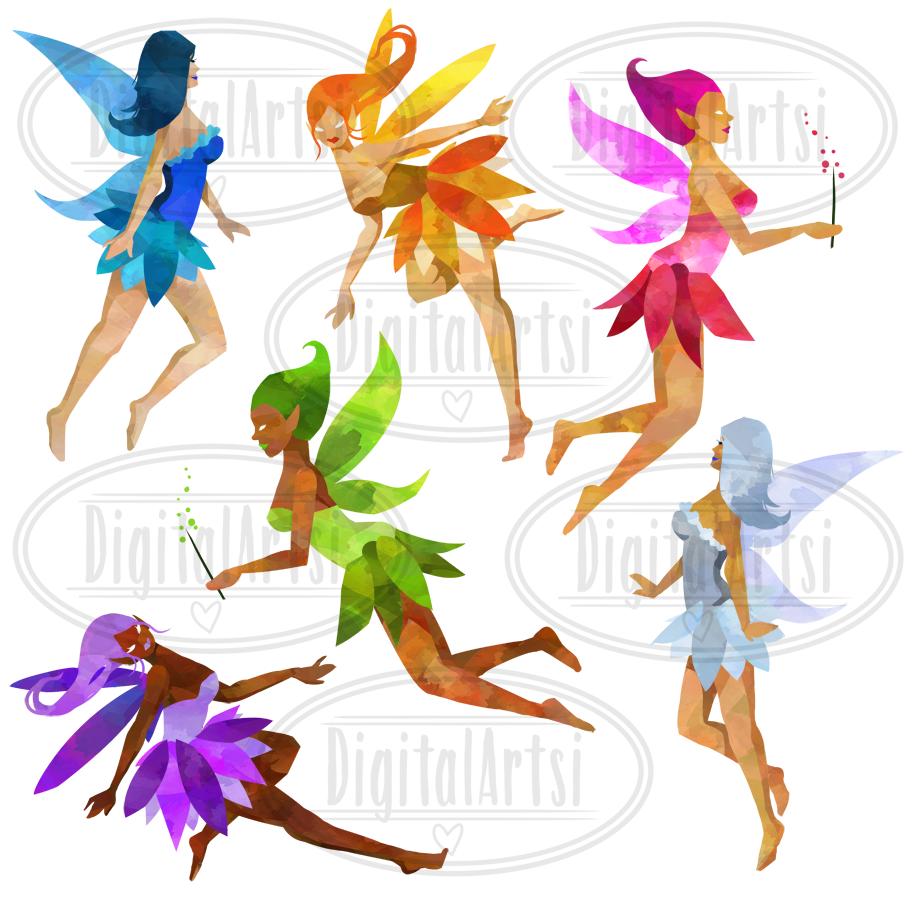 Watercolor by digitalartsi thehungryjpeg. Fairies clipart